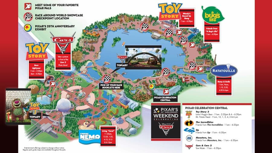 Guidemap for Pixar's 25th Anniversary Weekend at Epcot