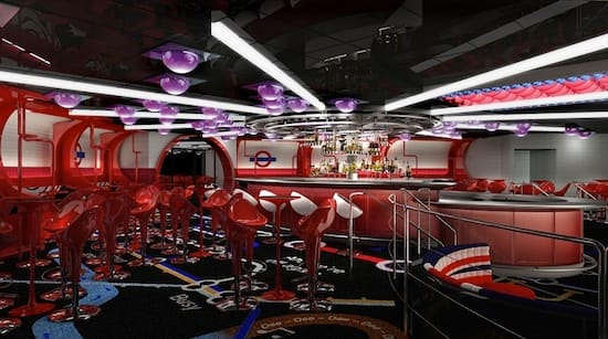 In Europa on the Disney Fantasy, The Tube transports guests to a vibrant club via the London Underground.