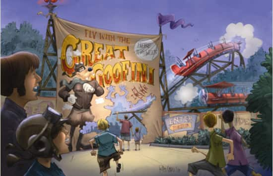 Artist Rendering of Barnstormer Featuring Goofy as the Great Goofini Coming to the New Fantasyland at Magic Kingdom Park