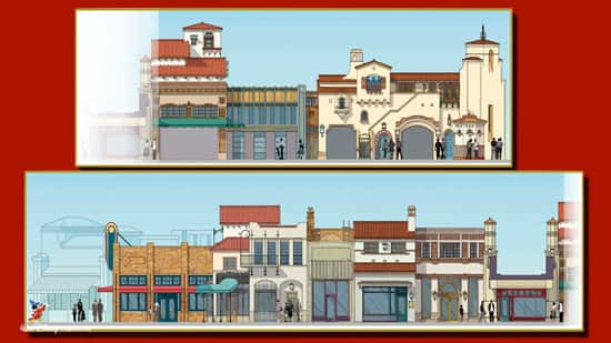 Rendering of the West Side of Buena Vista Street at Disney California Adventure Park