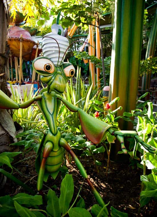 Part of 'a bug's land' and is Manny the Praying Mantis Next to Flik's Flyers