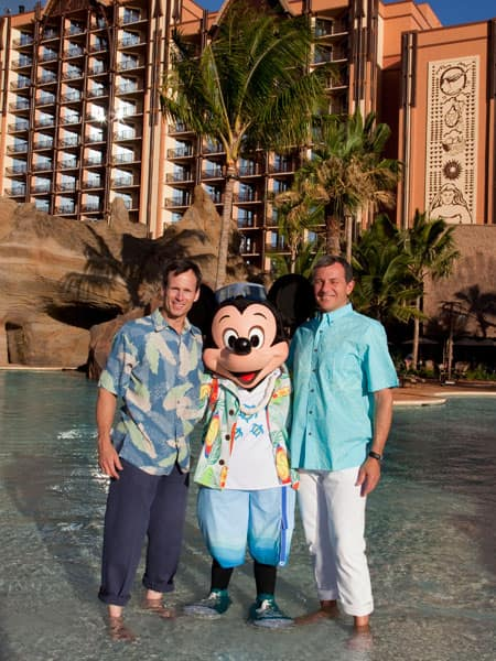 Mickey Mouse with Walt Disney Company President and CEO, Bob Iger, and Walt Disney Parks and Resorts Chairman, Tom Staggs at Aulani, A Disney Resort & Spa