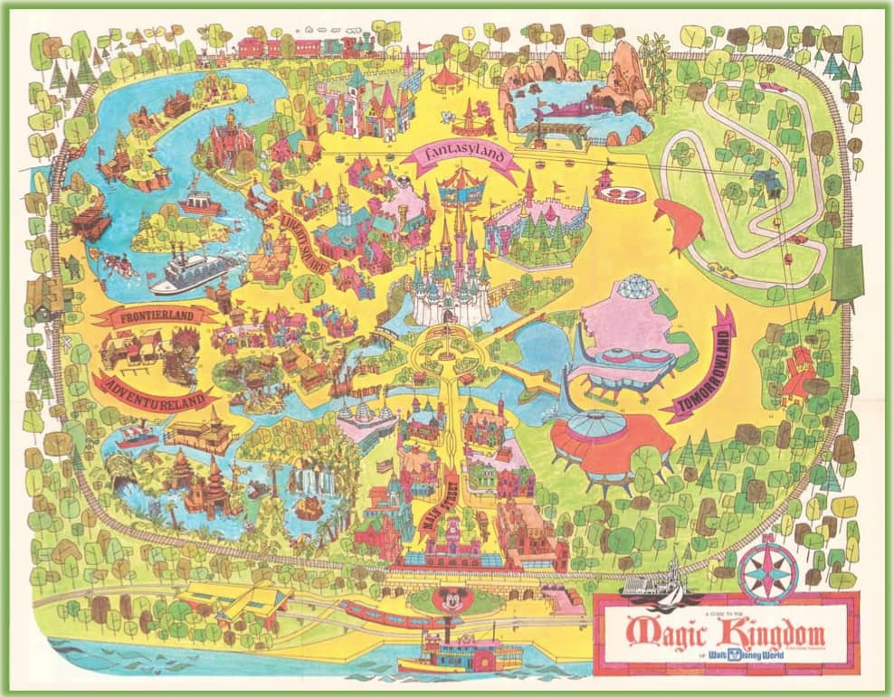 picture about Printable Magic Kingdom Map named 40th Anniversary Commemorative Map of Magic Kingdom Park