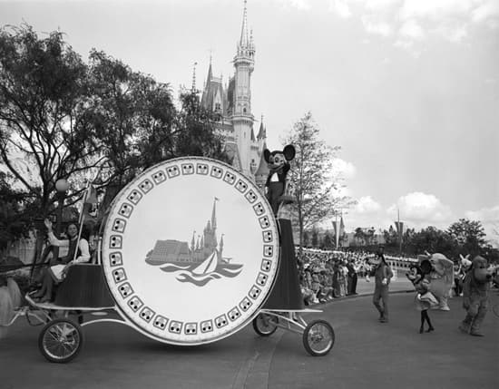 Parade Was Led by Mickey Mouse, Playing the World's Largest Bass Drum