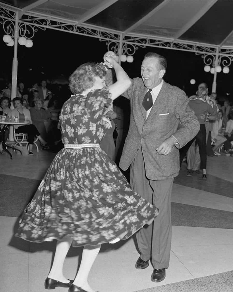 1958 Photo Walt Disney Dances The Night Away At Disneyland Park