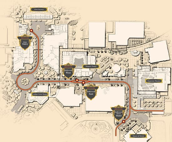 Map of the Red Car Trolley Route at Disney California Adventure Park