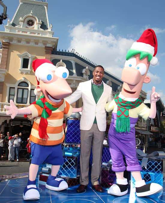 Nick Cannon with Phineas & Ferb at Disneyland Park