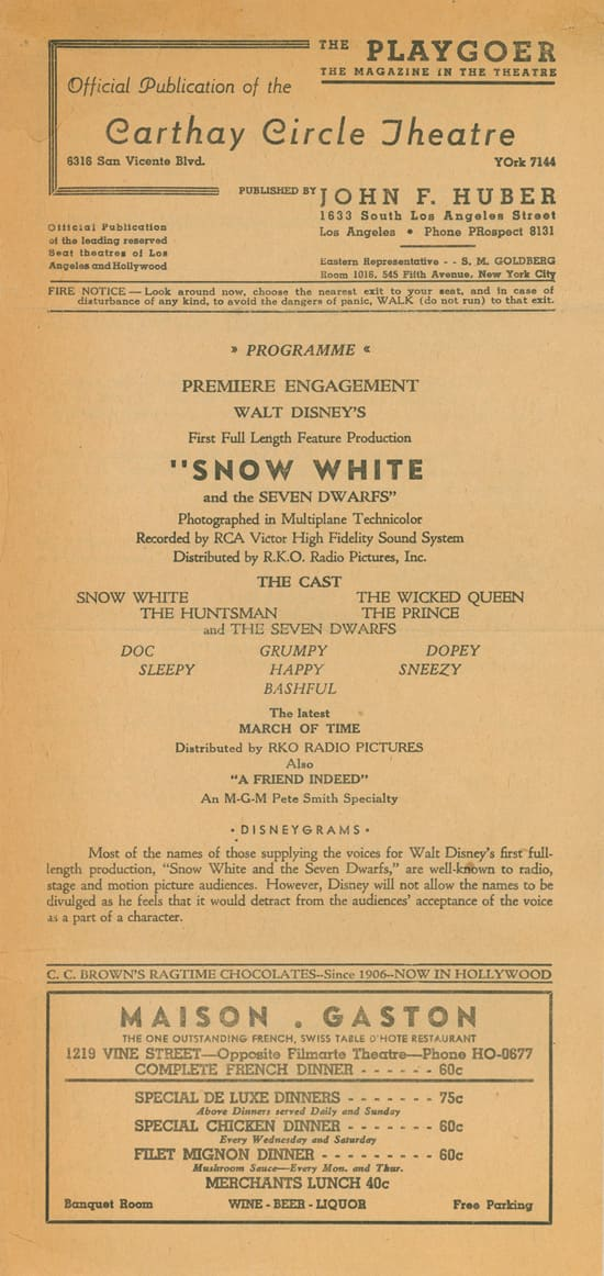 Playbill from Opening Night of 'Snow White and the Seven Dwarfs' at Carthay Circle Theatre