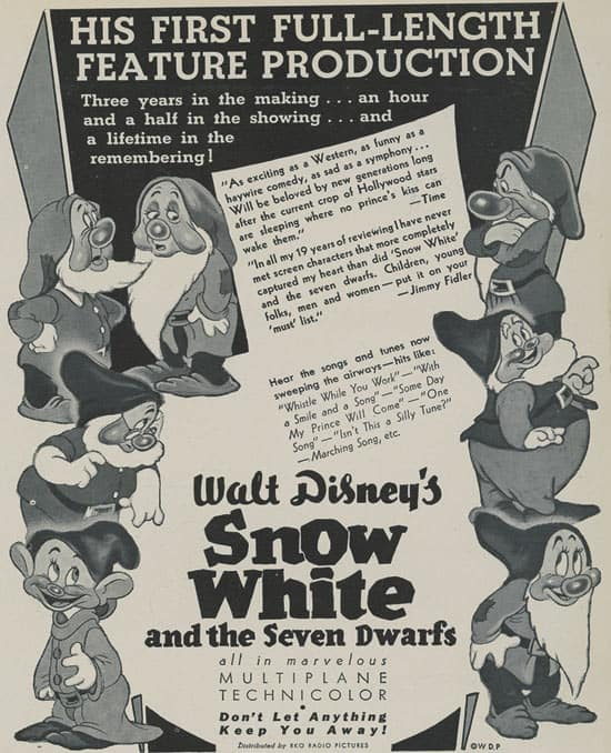 Original Advertisement for the Opening of 'Snow White and the Seven Dwarfs' at Carthay Circle Theatre