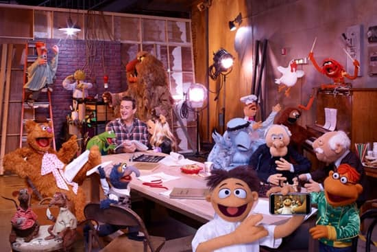 One of the calmer, more organized production meetings with Disney's The Muppets cast and staff.