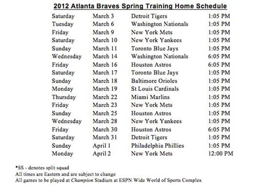 2012 Atlanta Braves Spring Training Home Schedule