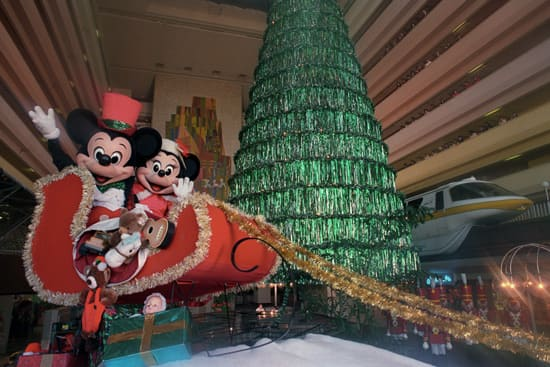 Mickey and Minnie in Front of the Christmas Tree at Disney's Contemporary Resort in 1989