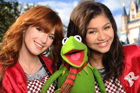 Kermit the Frog with Disney Channel Stars Bella Thorne and Zendaya at Walt Disney World Resort Taping of 'Disney Parks Christmas Day Parade'