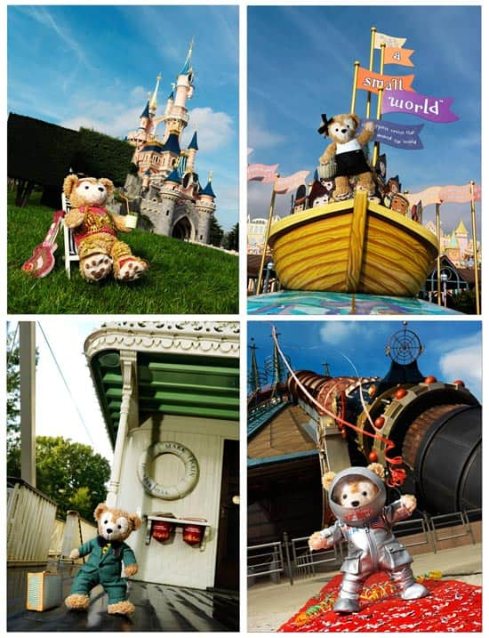 Duffy The Disney Bear Arrives at Disneyland Resort Paris; Costumes by Manish Arora (top left), Paul Ka (top right), Paul & Joe (bottom left) and Jean-Charles de Castelbajac (bottom right)