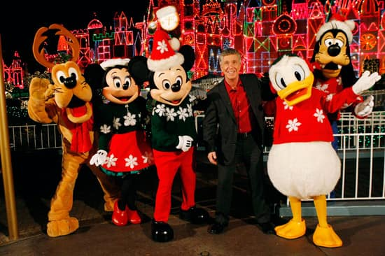 Host Tom Bergeron with Pluto, Minnie Mouse, Mickey Mouse, Donald Duck and Goofy at Disneyland Resort