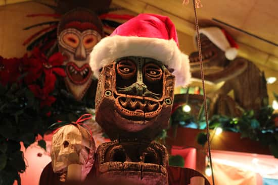 Tiki Figure Decorated for the Holidays at Trader Sam's – Enchanted Tiki Bar at the Disneyland Hotel