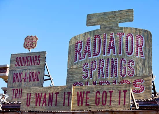 'You Want It? We Got It!' Sign at Cars Land at Disney California Adventure Park