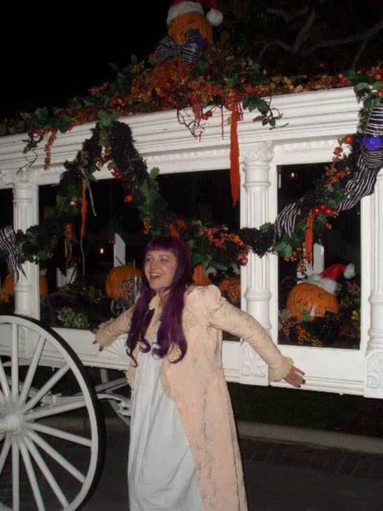 John's Daughter, Emily, in Front of the Haunted Mansion in Disneyland Park