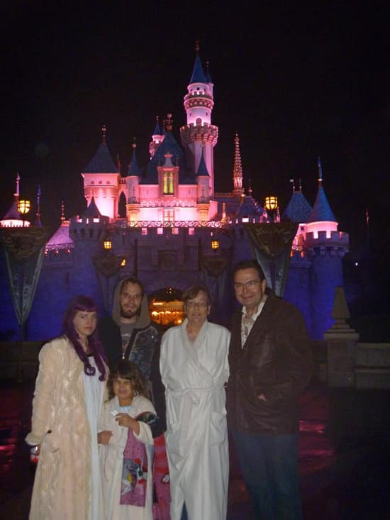 John and His Family in Their PJs on a Walking Tour of Disneyland-after-closing