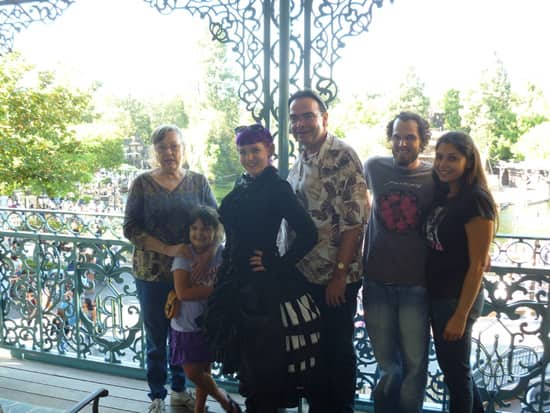 John and His Family on the Balcony of the Disneyland Dream Suite