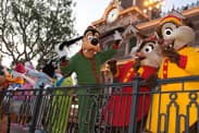 Goofy and Friends in their Pajamas in Front of the Main Street Train Station at Disneyland Park