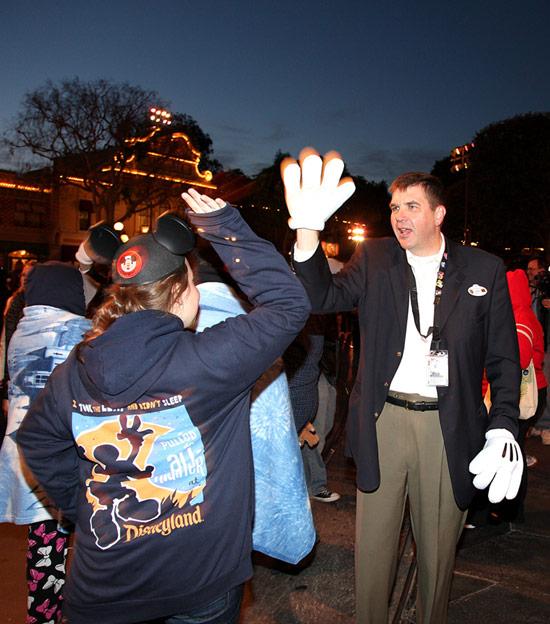 Jon Storbeck, vice president of Disneyland park, bidding guests farewell.