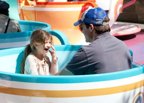 Jason Bateman and Daughter Francesca Ride the Mad Tea Party at Disneyland Park