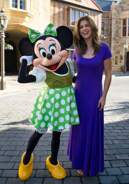 Kathy Ireland with Minnie Mouse in the United Kingdom Pavilion at Epcot