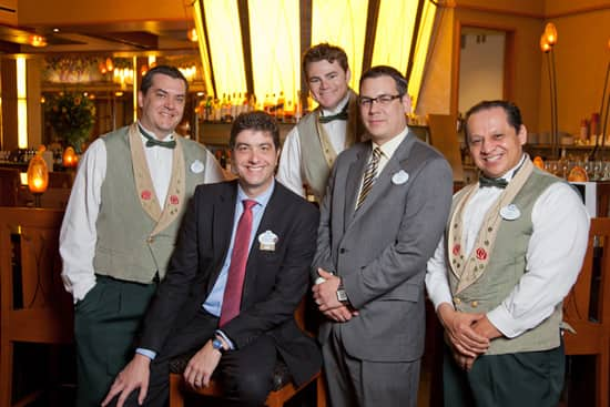 Philippe Tosques, General Manager of Napa Rose, with Restaurant Manager Eric Quezada and Bartenders Matt Ellingson, Ryland Brown and Joe Monje