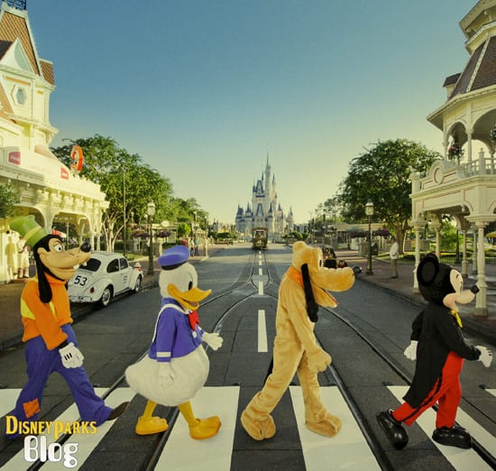 Mickey, Pluto, Donald and Goofy Pay Tribute to The Beatles on Main Street, U.S.A., at Magic Kingdom Park