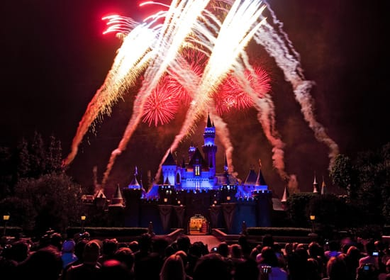 Celebrating Independence Day with Fireworks above Sleeping Beauty Castle at Disneyland Park
