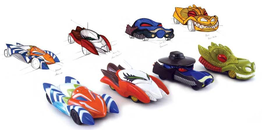 Concept sketches and final design of the Star Wars: The Clone Wars inspired Disney Racers