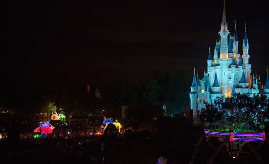 An After-Dark View of the Main Street Electrical Parade in Fast-Forward at Magic Kingdom Park