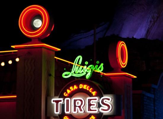 The Moon Over Luigi's Casa Della Tires in Cars Land at Disney California Adventure Park