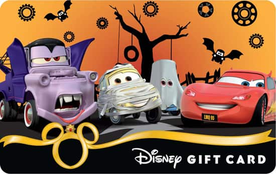 The 'Monster Cars Mash' Design is One of the New Halloween 2012 Disney Gift Card Designs