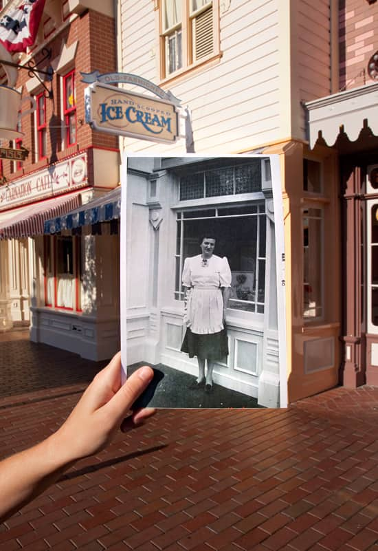 Then and Now: Gibson Girl Ice Cream Parlor at Disneyland Park in 1960 and Now