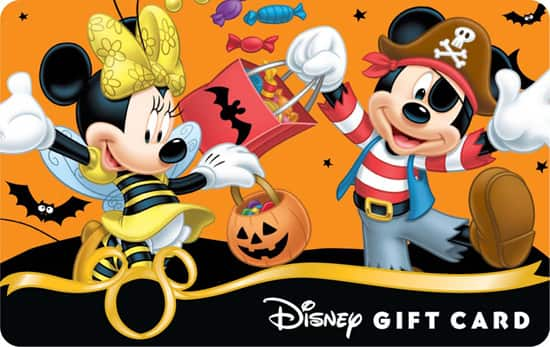 The 'Mickey & Minnie – Halloween Fun' Design is One of the New Halloween 2012 Disney Gift Card Designs