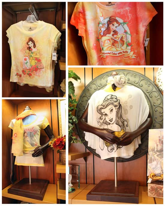 Say Hello to New Fantasyland Merchandise at Bonjour! Village Gifts in Magic Kingdom, Including Belle Shirts for Kids and Women