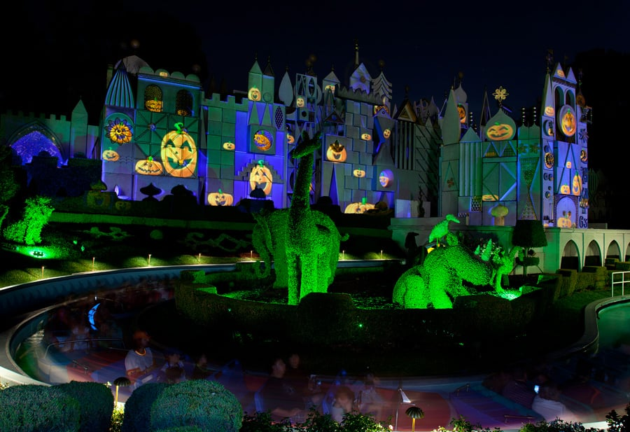 its a small world during mickeys halloween party in disneyland park