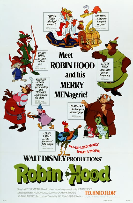 'Robin Hood,' Released by Walt Disney Studios in 1973