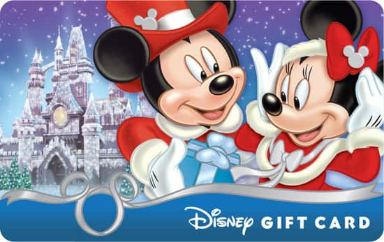 The 'Mickey & Minnie – Season's Gift' Disney Gift Card Shows Mickey Giving Minnie a Present in Front of a Frosted Castle that is Reminiscent of the Icy Spectacle Seen at Times Square a Few Weeks Ago