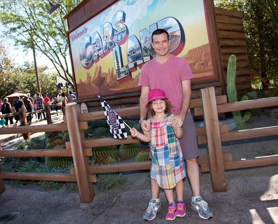 Jason Bateman and Daughter Francesca Visit Cars Land at Disney California Adventure Park