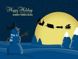 Mickey Mouse Joy Riding in Santa's Sleigh Desktop Wallpaper