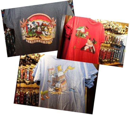 Shirts from the Germany Pavilion at Epcot