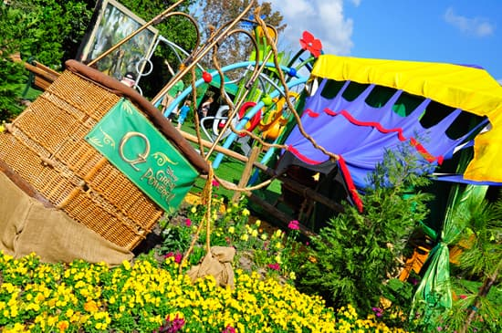 The Wizard's Deflated Hot Air Balloon in The Land of Oz Garden at Epcot