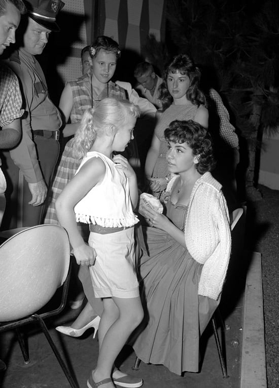 Annette Funicello with a Fan at Disneyland Park
