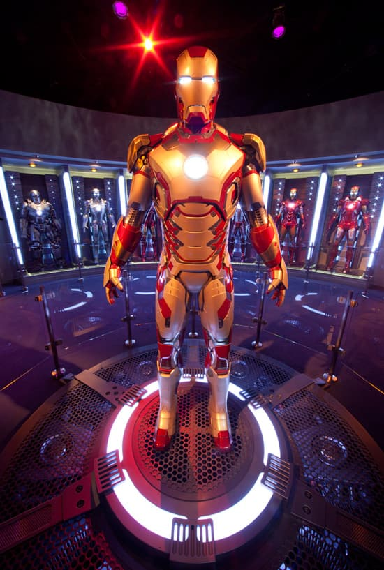 Tony Stark's Hall of Armor, Part of Iron Man Tech Presented by Stark Industries at Disneyland Park