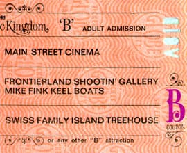 A Vintage 'B' Ticket for Attractions at Magic Kingdom Park