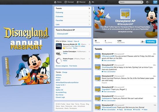 New Twitter Service: @DisneylandAP, Joins Lineup of Benefits for Disneyland Annual Passholders