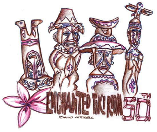 Walt Disney's Enchanted Tiki Room Sketch by David Mitchell, Part of the Park Icon Artist Sketch Collection at The Disney Gallery